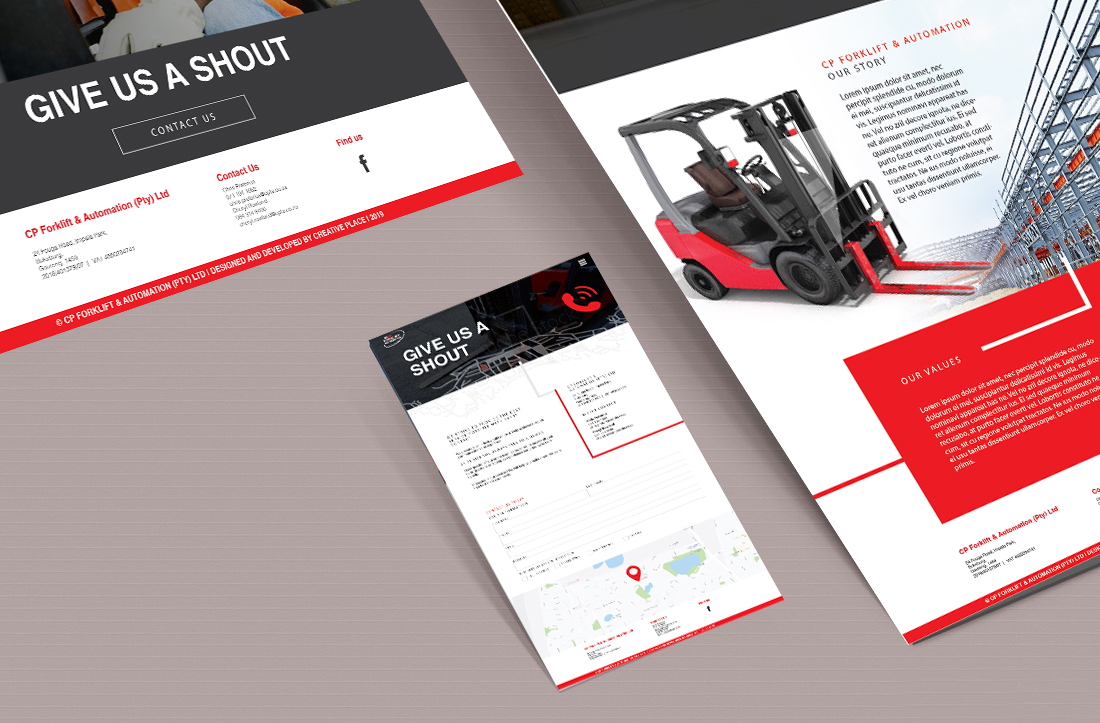 cp forklift and automation website flay layout